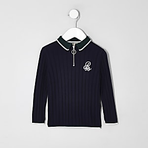 Mini boys navy 'R96' zip polo shirt