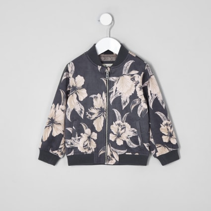 Mini kids grey floral bomber jacket
