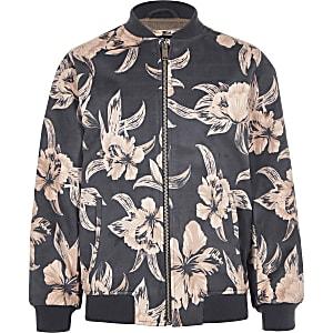 Kids floral faux suede bomber jacket