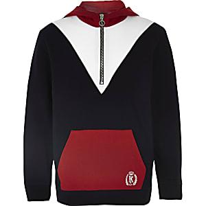 Sweat à capuche color block rouge zippé pour garçon