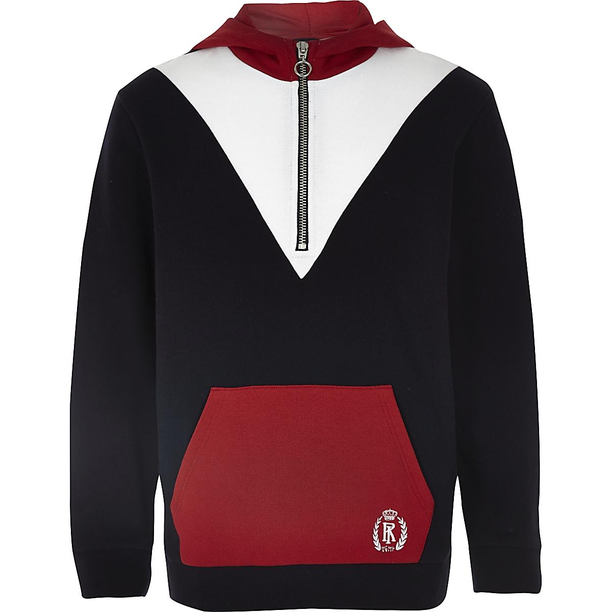 Boys red blocked zip hoodie