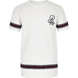 Wit T-shirt met bies en 'R96'-print voor jongens