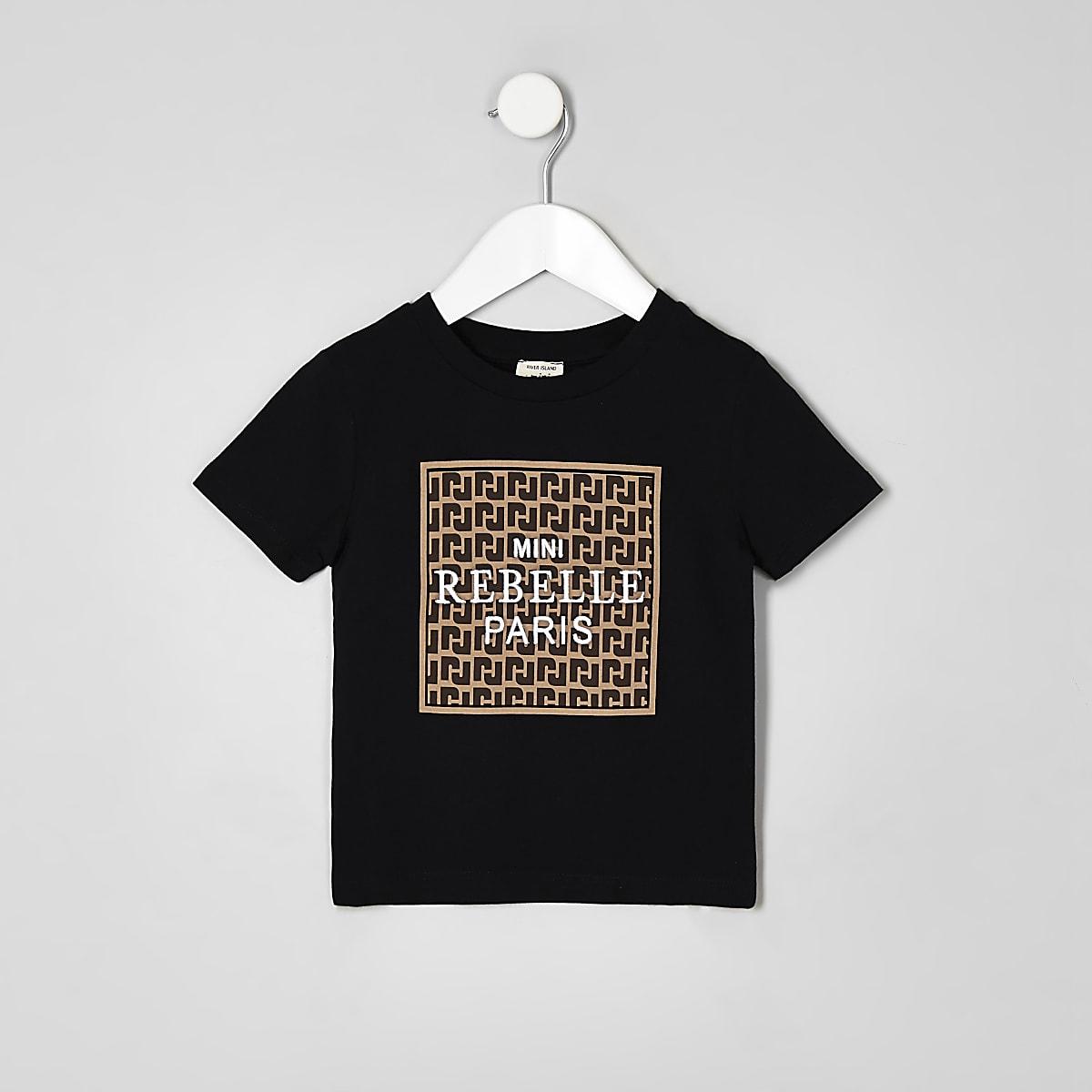 Mini boys black 'mini rebelle' T-shirt