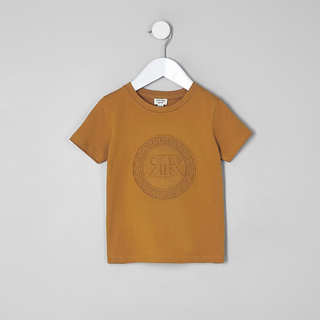 Mini boys orange RI embossed T-shirt