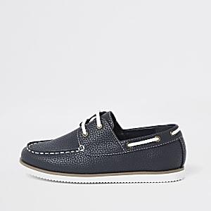 Chaussures bateau texturées bleu marine à lacets pour garçon
