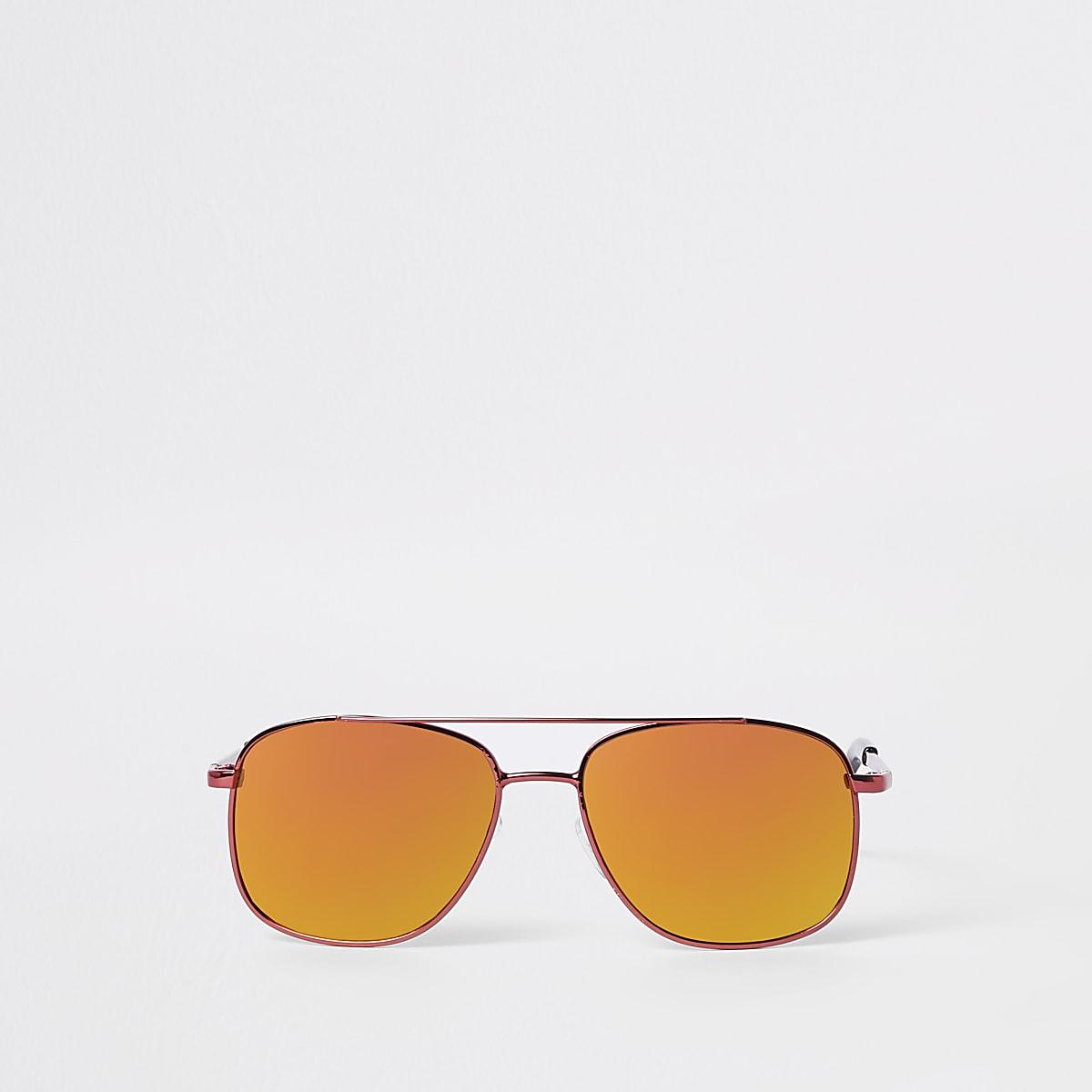 Boys red round aviator sunglasses