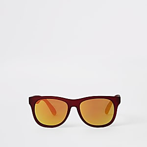 Boys red tinted lens retro sunglasses