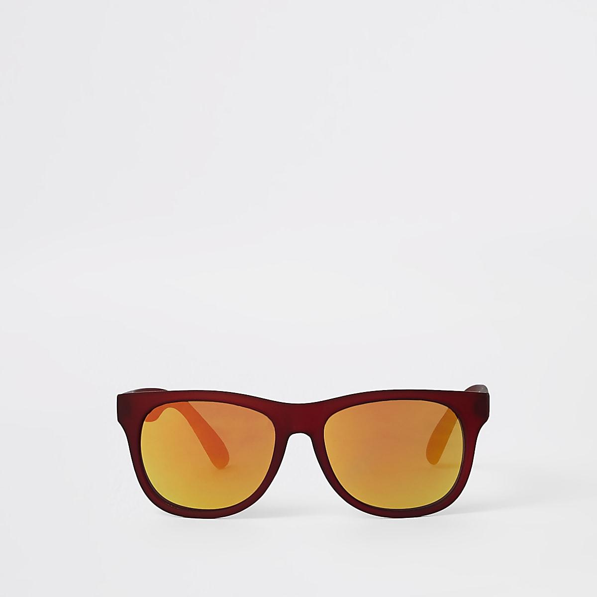Boys red tinted lens retro sunglasses