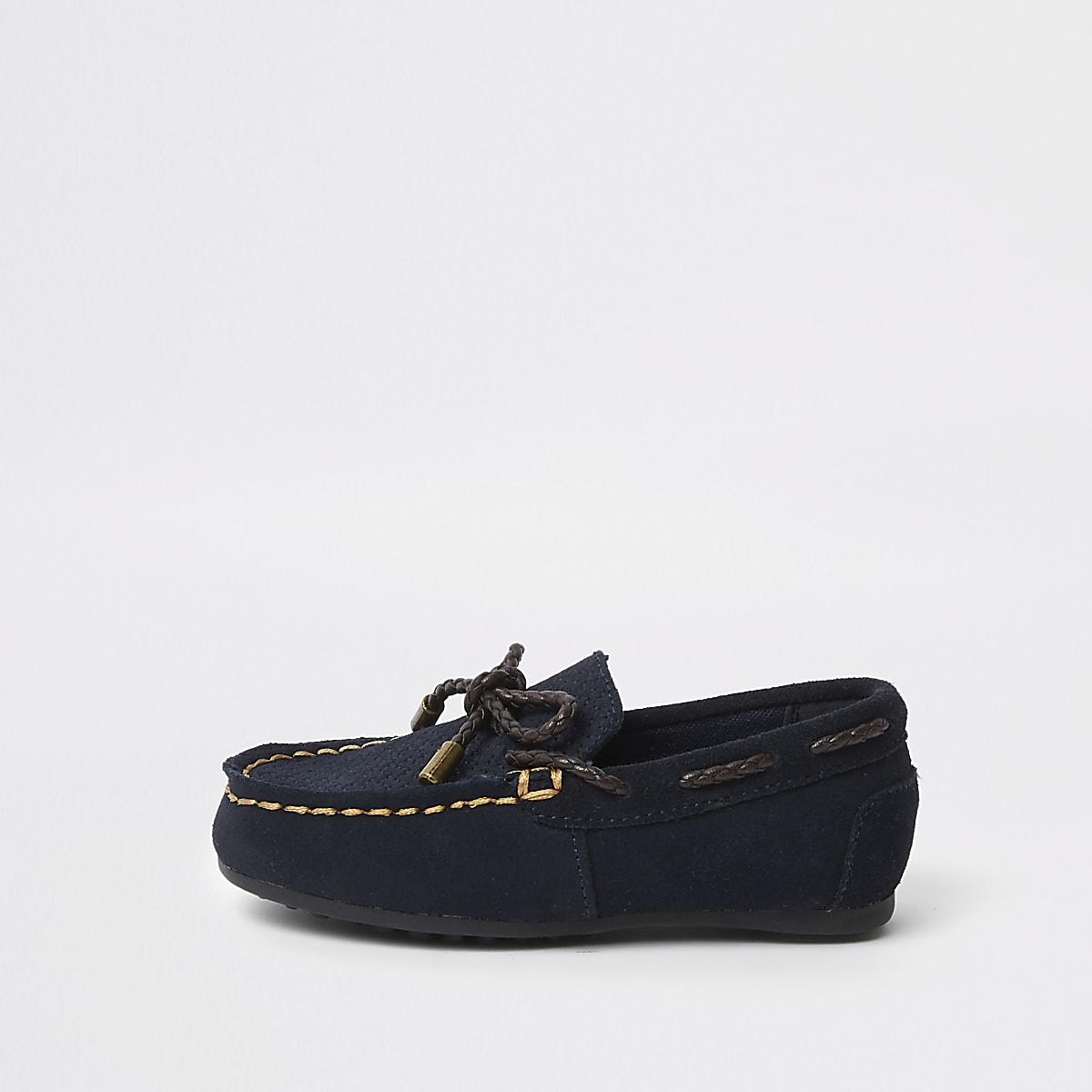 Mini - Marineblauwe mocassins voor jongens