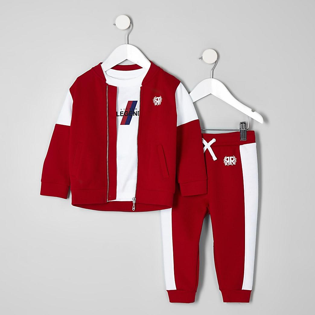 Mini boys red RI bomber jacket outfit