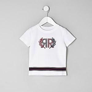 T-shirt RI en piqué blanc mini garçon