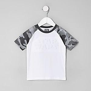 """Weißes T-Shirt mit """"Star Wars""""-Schriftzug und Camouflage-Ärmeln"""