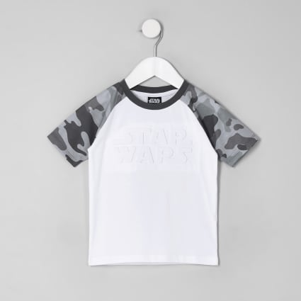 Mini boys white Star Wars camo trim T-shirt