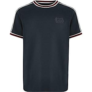 Marineblaues T-Shirt mit Stickerei