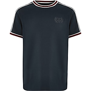 Boys navy RI embroidered tipped T-shirt