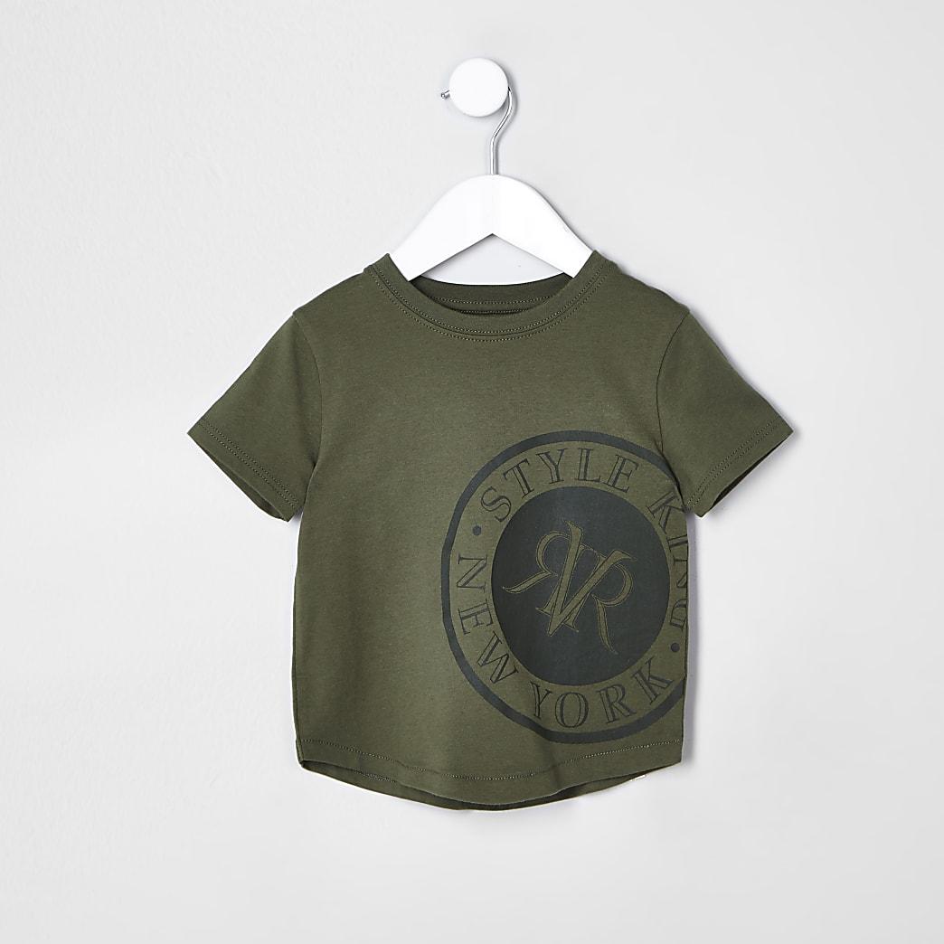 Mini - Kaki T-shirt met 'New York'-print voor jongens