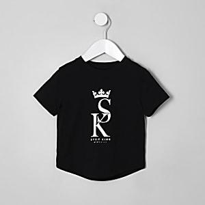 Mini - Zwart T-shirt met 'style king'-print voor jongens