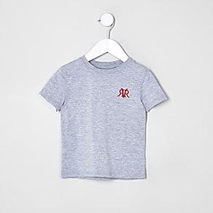Mini - Grijs geborduurd T-shirt voor jongens