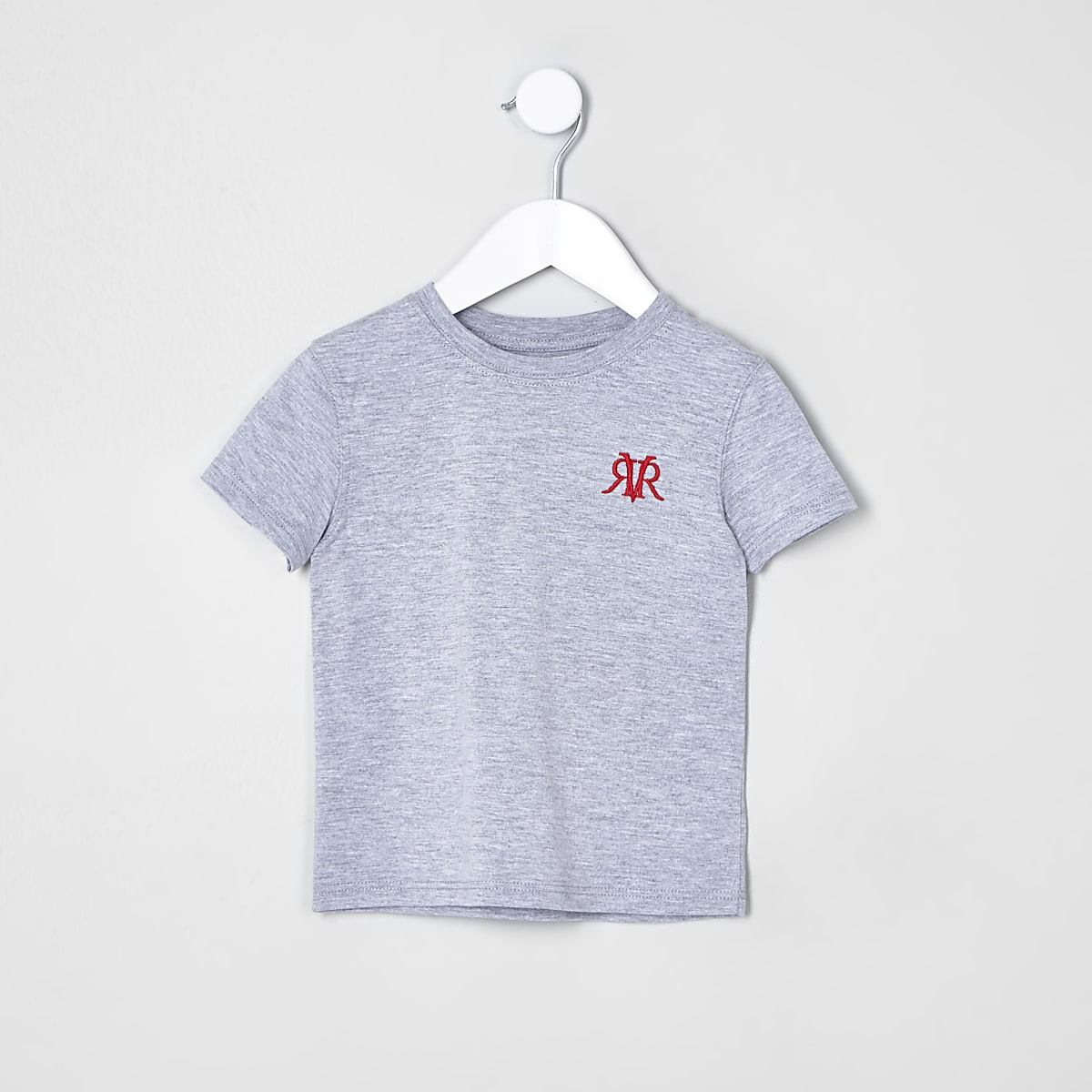 Mini boys grey chest embroidered T-shirt