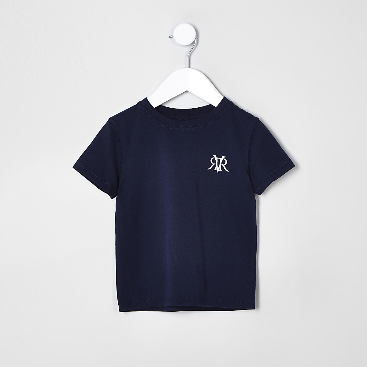 Mini boys navy chest embroidered T-shirt