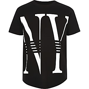 Boys black 'NY' print T-shirt