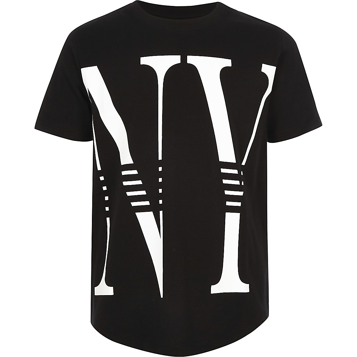 Boys black 'NY' print T-shirt