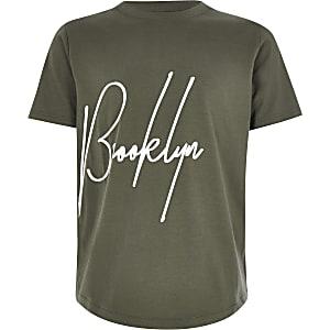 Boys khaki 'Brooklyn' T-shirt