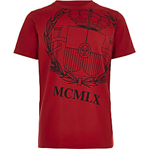 Boys red loyalty print T-shirt