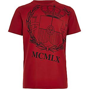 Rood T-shirt met 'Loyalty'-print voor jongens