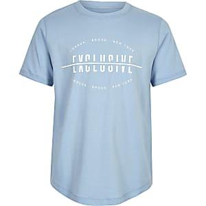 Blauw T-shirt met 'Exclusive'-print voor jongens