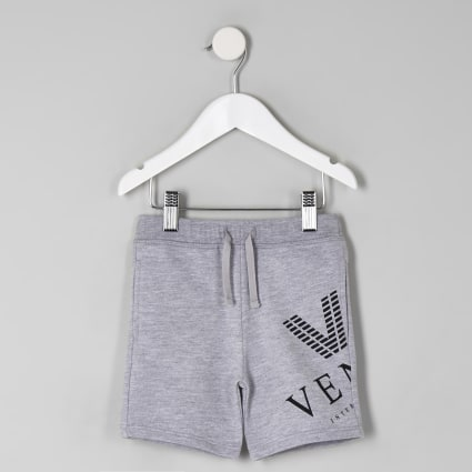 Mini boys grey marl 'venti' print shorts