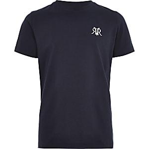 Marineblauw geborduurd T-shirt met RI-logo voor jongens