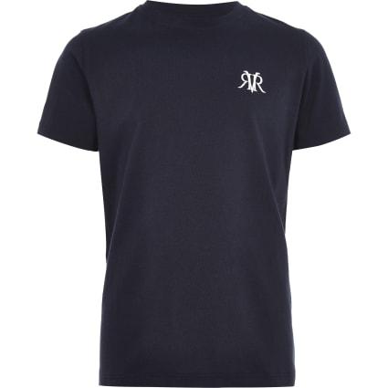 Boys navy RI embroidery T-shirt