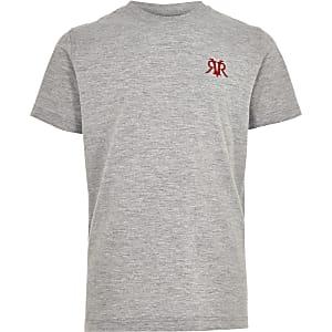 Grijs gemêleerd geborduurd T-shirt met RI-logo voor jongens