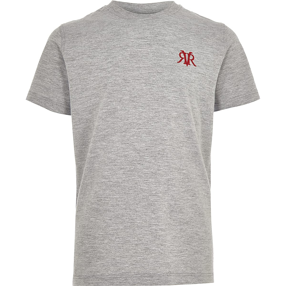 Boys grey marl RI embroidery T-shirt