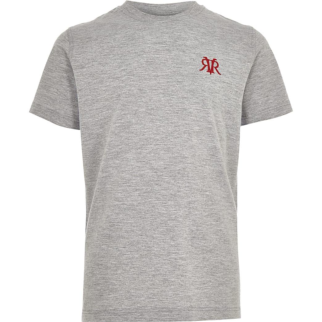 Boys grey marl RI embroidery T-shirt