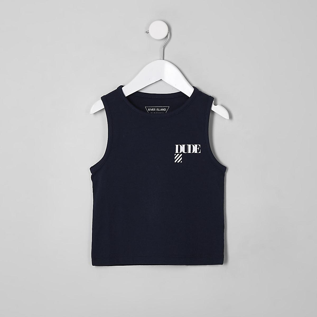 Mini boys navy 'Dude' vest