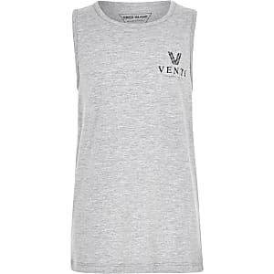 Grijs gemêleerd hemdje met 'Venti'-print voor jongens