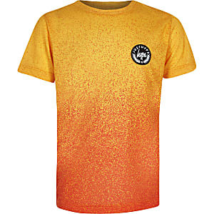 Boys orange Hype speckle print T-shirt