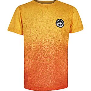 Hype - Oranje T-shirt met spattenprint voor jongens