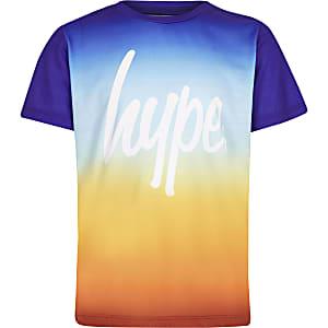 Hype - Oranje T-shirt met vervagende zonsondergangsprint voor jongens