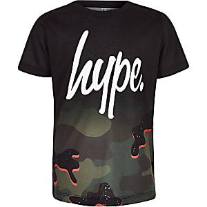 Hype – T-shirt à imprimé camouflage noir pour garçon