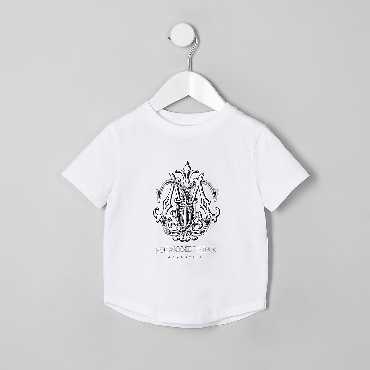 T-shirt «Handsome prince» blanc mini garçon