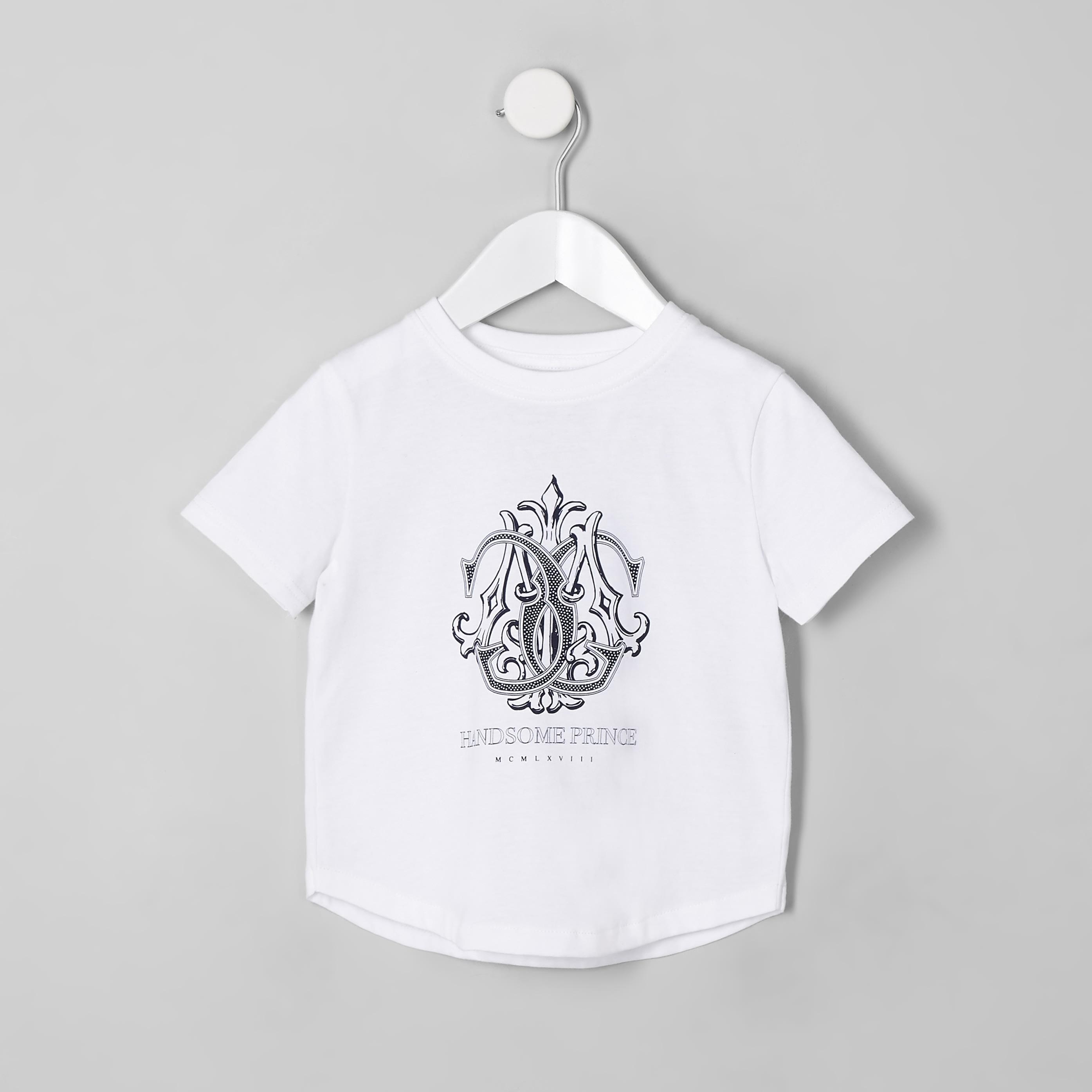 RIVER ISLAND   Mens Mini boys White 'handsome prince' T-shirt   Goxip