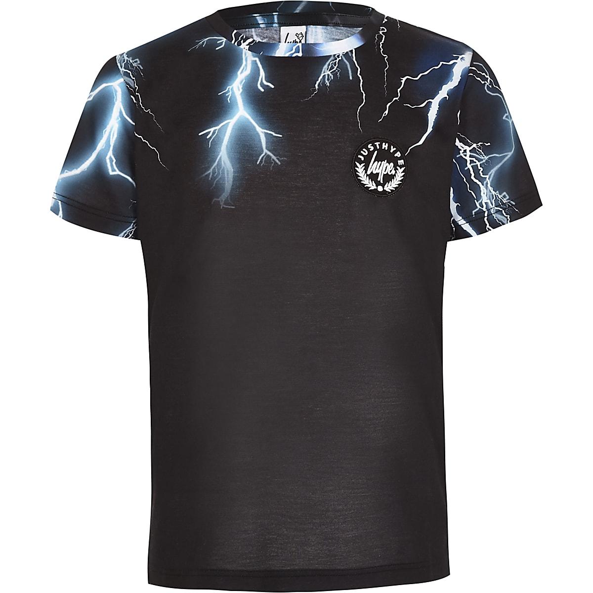 Boys Hype black lightening print T-shirt