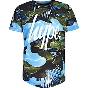 Hype - Blauw T-shirt met bladprint voor jongens