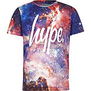 Hype - Paars T-shirt met ruimteprint voor jongens