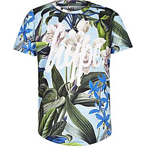 Hype - Blauw T-shirt met tropische print voor jongens