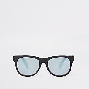 Zwarte retro zonnebril met blauwe glazen voor jongens