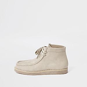 Beige crêpe laarzen met veters voor jongens